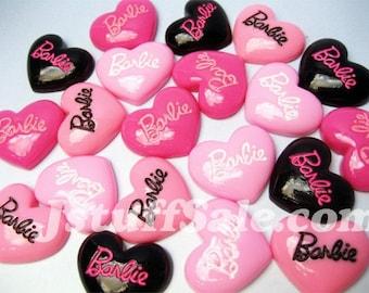 Barbie heart cabochons 20 pcs (N03)