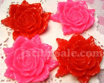 Gorgeous BIG Rose cabochons 4 pieces (Pink & Red) 40mm