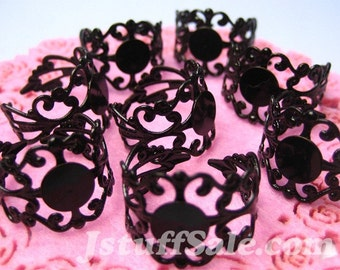 Glue On Pad Adjustable Rings 8 pcs (Black) C2