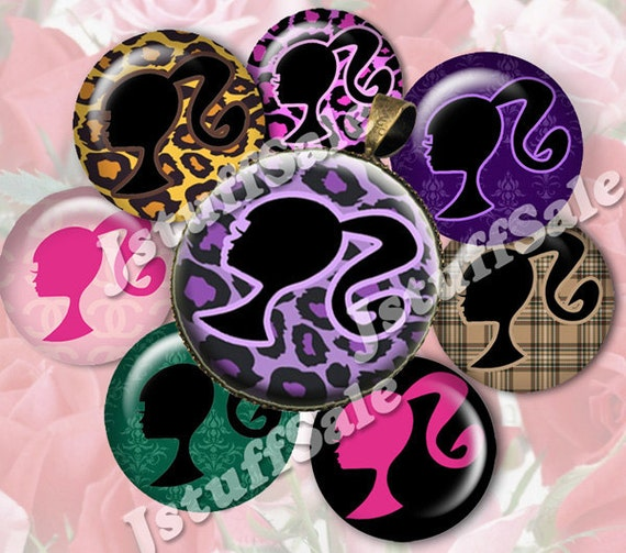 Barbie theme digital collage images - 3 sheets 1 inch (25mm) diameter - for bottle caps, pendants