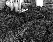 Beautiful and Eerie Castle Landscape 8.5x11 Letterhead Print B&W Original Artwork