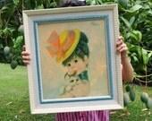Framed Big Eye Girl with a kitten (Framed Print)