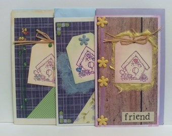 Birdhouse Flowers Set of 3 cards