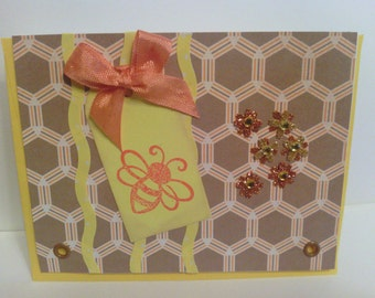 Retro Honey Comb Bumble Bee card