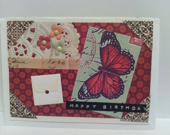 Antiqued Rust Butterfly Flowered Birthday Card