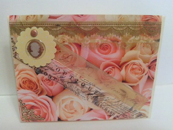 Gold Pink Flowered Cameo French Victorian Card