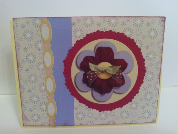 Burgundy Lilac Yellow Flowered any Occasion Card