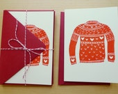 Set of 4 Love Sweater Valentines Day Cards