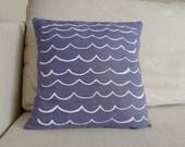 Hand Silkscreened Linen Pillow - Purple Waves Pattern