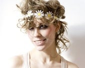 Lace headband - Daisie crown - White and yellow