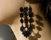 Lace earrings - Jellyfish - Black lace