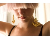 Lace earrings - Anchor - Gold lace with gold chain