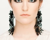 Lace earrings - Poison Ivy Tangled Vines (in black or gray)