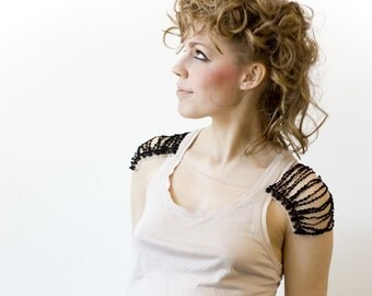 Body harness jewelry - UNRAVELED SHOULDERS - Black lace with silver chain