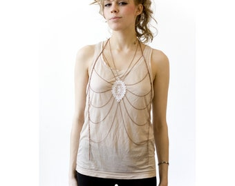 Body harness jewelry - Sunrise - White or black lace with your choice of chain