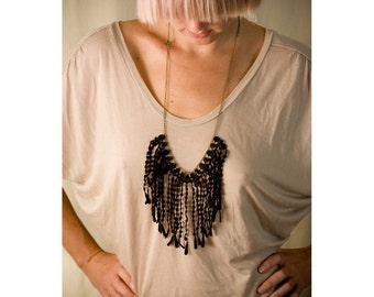 Lace necklace - Fringe - Black or white lace with your choice of chain