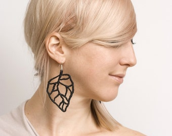 Lace earrings - LEAF VEINS - Black lace