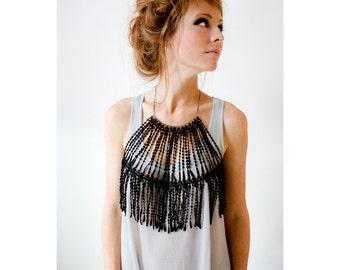 Body harness jewelry - Nefertiti - Black lace and gunmetal chain