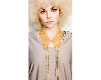 Lace necklace - Disco collar - Gold vintage lace with gold chain