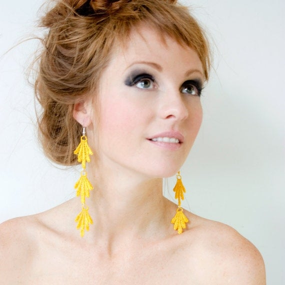 Lace earrings - Spanish Grass - Yellow, blue or coral