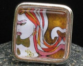 HOLIDAY SALE - Glass Tile Ring featuring Jami Goddess Art - New setting
