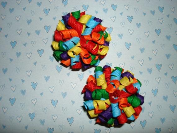 Rainbow Mix Primary Colors Mini Korker Hair Bow Set