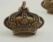 FRENCH CROWN with Fleur De Lis Vintage Brass Charm Pendant 2 pcs