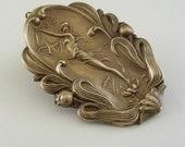 ART NOUVEAU Pendant Large Vintage Retro Brass Stamping for Necklace