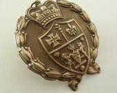 Vintage Pendant - Brass Pendant - Crown and Lion Wreath Pendant - Large Pendant for Necklace