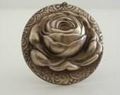 Vintage Pendant - Rose Necklace - Rose Pendant - Large Brass Stamping - Brass Necklace - DIY Necklace