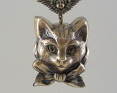Cat Pendant with Angel Vintage Pendant  Large Brass for Necklace - Handmade