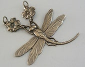 Pendant - Dragonfly - Vintage Brass Stamping - Large for Necklace - Handmade