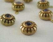 Purple Rhinenstone  - Vintage Brass Swarovskil Drops 14X5mm - 1  pair