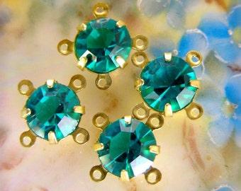 Rhinestones Teal Green Vintage SWAROVSKI  Drops/connectors 4 Pieces