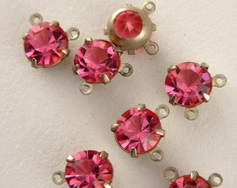 Pink Connector Rhinestones -  Vintage Round SWAROVSKI Rhinestone 2 Loop Connector Drops 4 Pieces