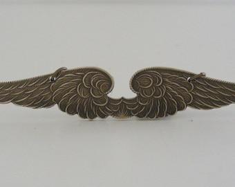 Vintage Pendant - Brass Pendant - Angel Wing Pendant - Vintage Finding - Large Pendant - DIY Necklace