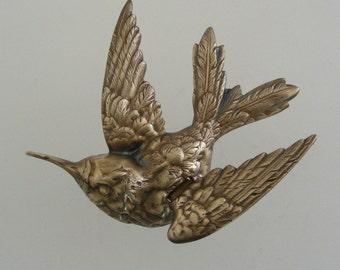 DIY Jewelry - Hummingbird Stamping - Large Vintage Brass Stamping -  Bird Finding