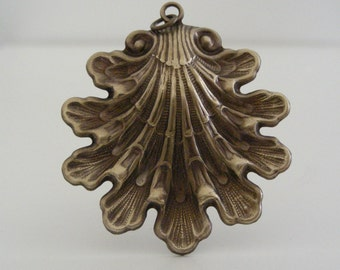 Vintage Pendant - Brass Pendant - Victorian Sea Shell Pendant - Brass Stamping - DIY Necklace - Large Pendant