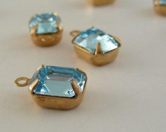 AQUA BLUE  SWAROVSKI Rhinestone Vintage Drops 10x8mm 1 Pair