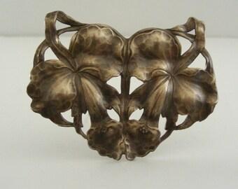 Pendant  ART NOUVEAU Orchids Large Brass for Necklace