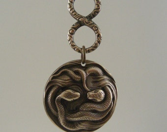 Snake Pendant Vintage Brass for Necklace or Earrings - Stamping