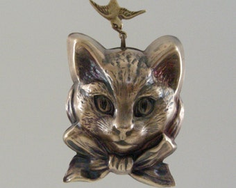 Kitty CAT Pendnat with Bird - Vintage Brass Large for Necklace - Handmade