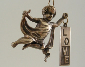 Pendant ANGEL with LOVE SIGN Vintage Brass for Necklace - Handmade