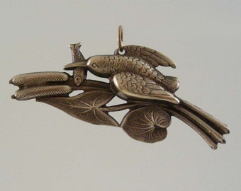 Vintage Pendant Kingfisher Bird  Brass Stamping DIY Necklace