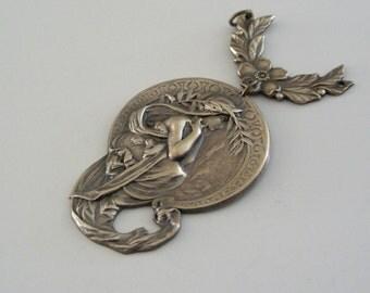 Brass Pendant - Art Nouveau Pendant - Vintage Brass Stamping -  Jewelry Making - Jewelry Supplies - handmade pendant