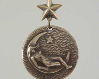Vintage Pendant - Moon Pendant - Goddess pendant -  Viintage Brass Stamping - for Necklace - handmade jewelry