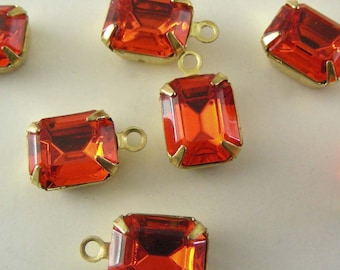 Vintage Rhinestone - Orange Rectangle Rhinestones - Vintage Swarovski Rhinestone Drops 10x8mm 1 PAIR