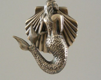 MERMAID and SHELL Pendant - Vintage Brass Large for Necklace - Handmade