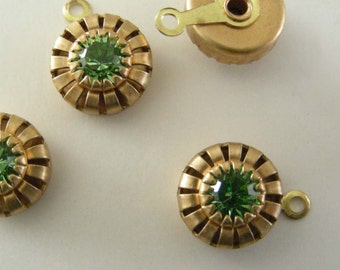 Rhinestones -  Peridot Lime Green -  Vintage Brass -  Steampunk -  SWAROVSKI Rhinestone Drops - 1 Pair
