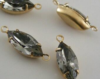 Rhinestones - Black Diamond - Large Vintage SWAROVSKI Rhinestones -  4 pcs